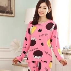 ชุดนอนแขนยาวลายวัวสีชมพู