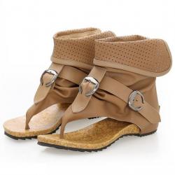 [มี2สี] รองเท้าแตะคีบ งานหนังpu คุณภาพสูง พับข้อ แต่งหัวเข็มขัด ซิปด้านหลัง สวยสไตล์เกาหลี