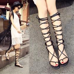 [มี2สี] รองเท้าแตะคีบ ส้นแบน รองเท้าชายหาด วัสดุหนังแท้ ทรงสาน สูงระดับเข่า ซิปด้านหลัง ทรงสวยแฟชั่นหน้าร้อน (ความยาว 16 นิ้ว)