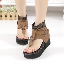 [มี2สี] รองเท้าแตะคีบผูู้หญิงเสริมส้น หนังไมโครไฟเบอร์ แต่หัวเข็มขัด ซิปหลัง ส้นสูง 3 นิ้ว รวมด้านใน