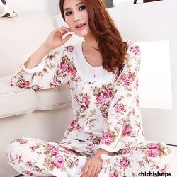 ชุดนอนเกาหลีขายาวลายดอกไม้ set 1 สีชมพู
