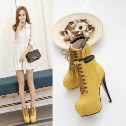 [มีหลายสี] รองเท้าบูทสั้นผู้หญิง ส้นสูง ผูกเชือก ทรงมาร์ติน ซิปด้านใน แฟชั่นหนังแท้ ด้านหน้าสูง 2 นิ้ว - ส้นสูง 6 นิ้ว แฟชั่นสไตล์ยุโรป