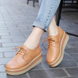 [มี2สี] รองเท้าบูทส้นตึก แฟชั่นหนังแท้ ผูกเชือก มีรูระบายอากาศ รุ่นไม่หุ้มข้อ สวย แฟชั่นย้อนยุค ส้นสูง 2 นิ้ว