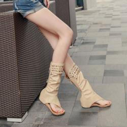 [มี2สี] รองเท้าแตะคีบสไตล์เกาหลี ทรงสูง หุ้มข้อ แฟชั่นหนัง pu ซิปหลัง มีรูระบายอากาศ ทรงสวย แฟชั่นสไตล์เกาหลี
