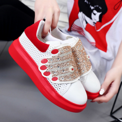 [มีหลายสี] รองเท้าผ้าใบแฟชั่นงานหนัง pu รูปมือ ประดับเพชร พื้นหนา 1.5 นิ้ว *รุ่นมีรูระบายอากาศ*