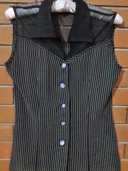 S120 เสื้อลายทางสีดำ แขนกุด ผ้าชีฟอง สวยๆค่ะ (มือ2 สภาพดี)