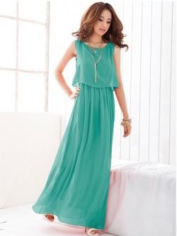 *หมดค่ะ* Maxi Dress สีเขียวมินท์ ผ้าชีฟองพริ้วสวยๆจ้า