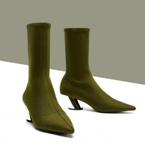 รองเท้าบูทสั้นผู้หญิง หัวแหลมส้นสูง วัสดุหนังไมโครไฟเบอร์+ผ้ายืด สีเขียว ส้นโลหะ ทรงสวยคุณภาพสูง แฟชั่นสไตล์ยุโรป
