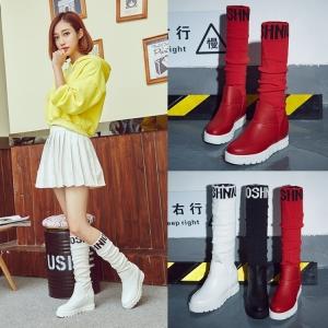 [มีหลายสี] รองเท้าบูทผ้าใบเสริมส้นเกาหลี แฟชั่นหนังไมโครไฟเบอร์ เสริมส้นสูงด้านใน 2 นิ้ว / บูทยาว 17 นิ้ว
