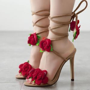 รองเท้าใส่ออกงาน รองเท้าหัวปลา ส้นสูง แฟชั่นหนังpu สีเบจ ทรงสวย สายพันข้อ ประดับดอกไม้สีแดงสไตล์เจ้าหญิง ส้นสูง 11.5 ซม.