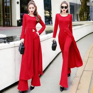 [มีหลายสี] ชุดเซต เสื้อ+กางเกงขาม้า เสื้อแขนยาวคอกลม ทรงยาว ผ่าหน้า จับจีบช่วงเอว สวย เปรี้ยว แฟชั่นสไตล์เกาหลี