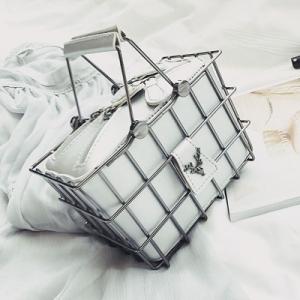[มีหลายสี] กระเป๋าถือ+สะพาย กระเป๋าแฟชั่นผู้หญิง ออกงาน วัสดุหนังPU ตะกร้าเหล็ก สวย เก๋