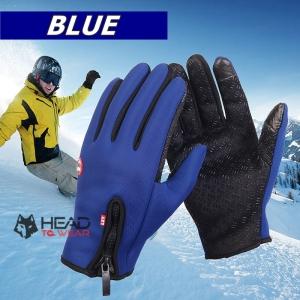 ถุงมือกันหนาว กันความเย็น เต็มนิ้ว : สีน้ำเงิน Blue รหัส GT023