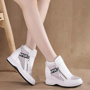 [มี2สี] รองเท้าหนัง pu พื้นหนา เสริมส้นสไตล์เกาหลี แต่งซิป ลายตาข่ายระบายอากาศ ใส่หน้าร้อนได้ ส้นสูง 2 นิ้ว รวมด้านใน