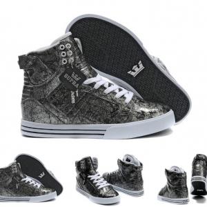 รองเท้าผ้าใบหุ้มข้อ วัสดุหนังแท้ ทรงฮิปฮอป สีเทาเข้ม (ออกดำ) ผูกเชือก สวย เท่ แฟชั่นสไตล์เกาหลี
