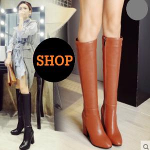 [มีหลายสี] รองเท้าบูทยาวส้นสูงเกาหลี รองเท้าหัวแหลม แฟชั่นหนัง pu กำมะหยี่และซิปด้านใน ทรงสวย ใส่เที่ยวอุ่นๆ แฟชั่นหน้าหนาว