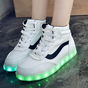 รองเท้า LED มีไฟเรืองแสง แฟชั่นหนัง PU หุ้มข้อ สีขาวคาดดำ ปรับเปลี่ยนไฟได้ 7 สี 8 แบบ เปิด-ปิดสวิตช์ได้ พร้อมสายชาร์จ USB