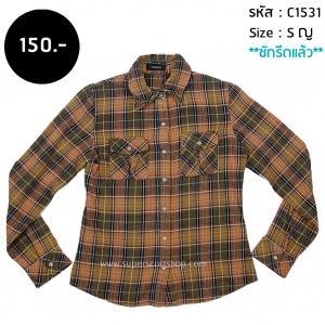 C1531 เสื้อลายสก๊อต Western สีส้ม กระดุมมุก