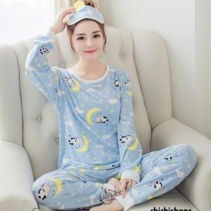 ชุดนอนแขนยาวลายวัว(สีฟ้า)