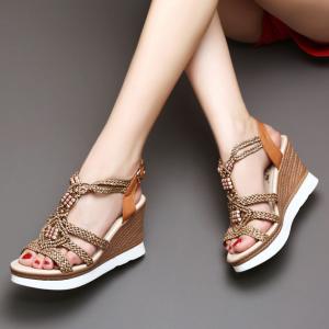 [มี2สี] รองเท้าส้นเตารีด ถักเชือกปอทรงสานสไตล์โรมัน แต่งหัวเข็มขัดรัดส้น ส้นถักปอ สูง 3.5 นิ้ว