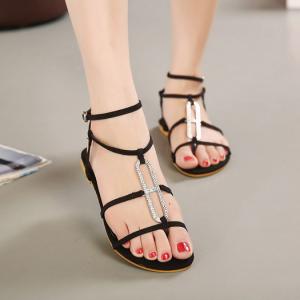 [มี2สี] รองเท้าแตะส้นแบน แบบหนีบ เปิดหัว เปิดส้น แต่งเพชร แต่งเข็มขัดรัดข้อ รองเท้าชายหาด