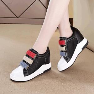 [มี2สี] รองเท้าผ้าใบ วัสดุหนัง pu+หนังแท้ พื้นหนา เสริมส้นสไตล์เกาหลี มีตาข่ายระบายอากาศ สายเทปด้านหน้า 3 เส้นเป็นเชือกปอ ส้นสูง 2.5 นิ้ว รวมด้านใน
