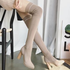 [มี2สี] รองเท้าบูทยาวผู้หญิงส้นสูง วัสดุหนังpu+ผ้ายืด บูทยาวเหนือเข่า สวยสไตล์เกาหลี ส้นสูง 3.5 นิ้ว