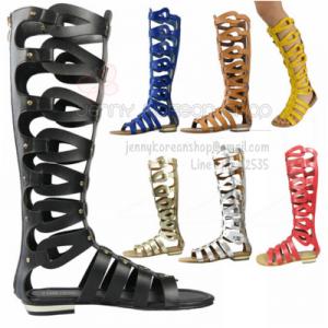[มีหลายสี] รองเท้าแตะส้นแบน แบบรัดขา แฟชั่นหนังแท้ สูงระดับเข่า ซิปหลัง แฟชั่นสไตล์ยุโรป
