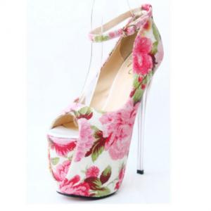 รองเท้าหัวปลา ส้นสูง ส้นแก้วคริสตัล มีสายรัดข้อ ดีไซน์ลายดอกไม้สุดหวาน สไตล์เจ้าหญิง