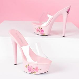 [มี2สี] รองเท้าส้นสูงใส่ออกงาน หัวปลาทรงสวม หน้าพลาสติกใส แต่งลายดอกไม้สไตล์สวยหวาน ส้นสูง 6 นิ้ว
