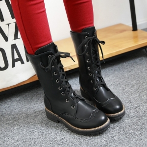 [มีหลายสี] รองเท้าบูทผู้หญิงมาร์ติน บูทยาวครึ่งขา วัสดุหนัง pu ผูกเชือก สวย เท่ แฟชั่นสไตล์อังกฤษ ทรงย้อนยุค ส้นสูง 1.5 นิ้ว, บูทยาว 10.5 นิ้ว
