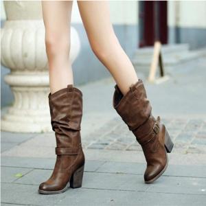 [มี2สี] รองเท้าบูทผู้หญิงส้นสูง ทรงมาร์ติน งานหนังแท้ จับย่น สวย แฟชั่นสไตล์อังกฤษย้อนยุค ส้นสูง 3 นิ้ว
