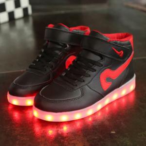 [มี2สี] รองเท้า LED มีไฟเรืองแสง แฟชั่นหนัง PU ร้อยเชือก ทรงหุ้มข้อ ปรับเปลี่ยนแสงไฟได้ 7 สี 8 แบบ พร้อมสายชาร์จ USB