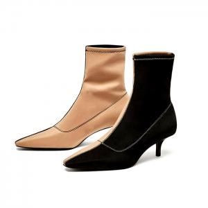รองเท้าบูทสั้นผู้หญิง หัวแหลมส้นสูง แฟชั่นหนังแท้+ผ้ายืด สลับสี สวยสไตล์ยุโรป ส้นสูงประมาณ 1 นิ้ว