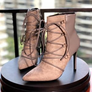 [มีหลายสี] รองเท้าบูทสั้นผู้หญิงส้นสูง หนังนิ่มคุณภาพสูง ร้อยเชือกด้านหน้า ซิปด้านใน