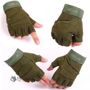 ถุงมือ Tactical ครึ่งนิ้ว : สีเขียว Green รหัส GT020