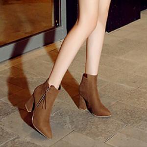 [มีหลายสี] รองเท้าบูทสั้น หัวแหลม ส้นสูง(ส้นหนา) หนังกลับ ซิปด้านข้าง แต่งพู่ สวย แฟชั่นสไตล์อักฤษ ทรงย้อนยุค ส้นสูง 3.5 นิ้ว หุ้มข้อ 4.5 นิ้ว