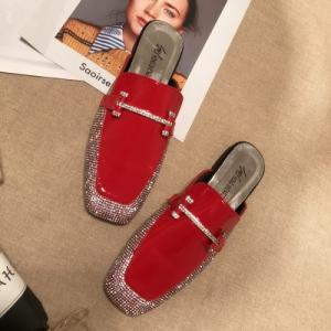 [มีหลายสี] รองเท้าคัทชูส้นแบน แฟชั่นหนัง pu แต่งเพชร