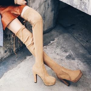 [มีหลายสี] รองเท้าบูทยาวผู้หญิงส้นสูง ส้นใหญ่ เซ็กซี่ แฟชั่นหนังนิ่ม ยืดหยุ่น ผูกเชือกด้านหลัง ส้นสูง 4 นิ้ว