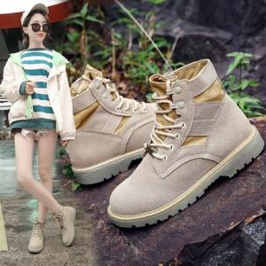 รองเท้าบูทกันหนาว บูทสั้นผู้หญิงทรงมาร์ติน แฟชั่นหนังpu สีกากี ผูกเชือก สวยสไตล์อังกฤษทรงย้อนยุค