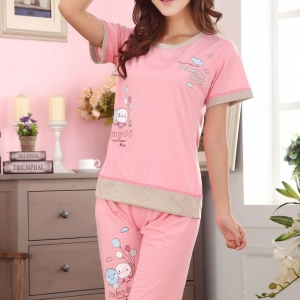 ชุดนอนแขนสั้นน่ารักลาย shiny Day สีชมพู