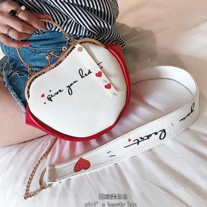 [มี2สี] กระเป๋าถือ+สะพาย หนังPU ทรงหัวใจ หูหิ้วเป็นโลหะสีทอง สวยหรู