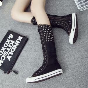[มี2สี] รองเท้าบูท ผ้าใบแฟชั่น แบบผูกเชือก บูทยาวระดับเข่า แต่งหมุด ซิปด้านใน สไตล์พังค์