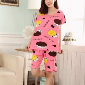 ชุดนอนแขนสั้นน่ารัก ลายวัว สีชมพู