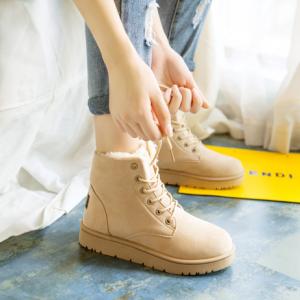 [พร้อมส่ง] รองเท้าขนสัตว์ รองเท้าบูทสั้น แบบร้อยเชือก แฟชั่นหนังpu สีครีม กำมะหยี่ด้านใน ทรงสวย แฟชั่นหน้าหนาว