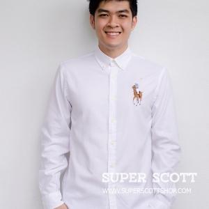 เสื้อเชิ้ต Polo Ralph Lauren ม้าใหญ่ สีขาว ของใหม่ 100% พร้อมส่ง