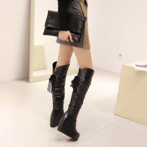 [มีหลายสี] รองเท้าบูทยาว ส้นสูงหนังpu ด้านบนร้อยเชือก ทรงสวยน่ารัก ใส่หน้าหนาวอุ่นๆ แฟชั่นสไตล์เกาหลี (มีรุ่นธรรมดาและรุ่นกำมะหยี่ด้านใน)
