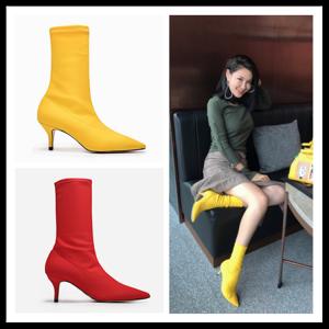 [มีหลายสี] รองเท้าบูทสั้นผู้หญิงส้นสูง ส้นแหลม วัสดุหนังแท้+ผ้ายืด คุณภาพสูง สวย แฟชั่นสไตล์ยุโรป ส้นสูงประมาณ 2 นิ้ว