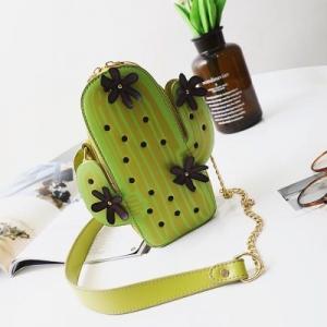[มีหลายสี] กระเป๋าสะพาย แฟชั่นหนัง pu ทรงกระบองเพชร ปักลายดอกไม้ สวย เก๋ ไม่ซ้ำใครแน่นอนจ้า