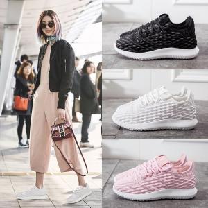 [มีหลายสี] รองเท้าผ้าใบแฟชั่น หนังไมโครไฟเบอร์ คุณภาพสูง ร้อยเชือกด้านหน้า รุ่นไม่หุ้มข้อ พื้นหนาเล็กน้อย สวยสไตล์เกาหลี
